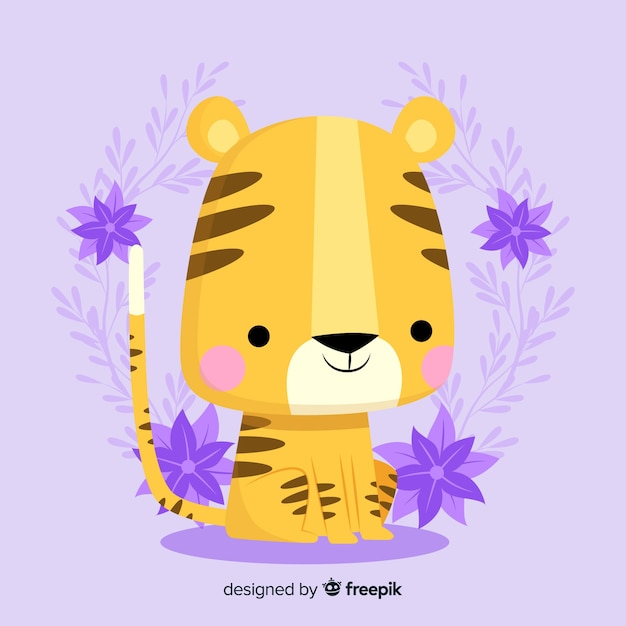 Lovely tiger face with flat design Free Vector