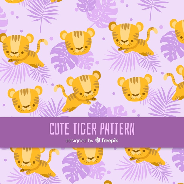Lovely tiger pattern with flat design Free Vector