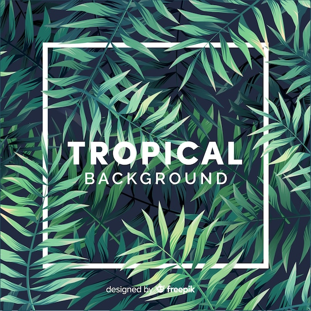 Lovely tropical background with flat design Free Vector