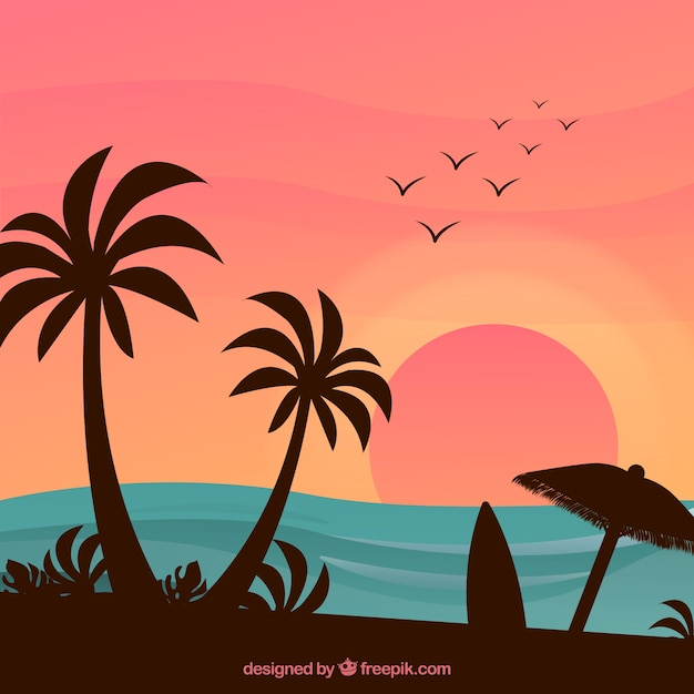 Bella spiaggia tropicale con design piatto Vettore gratuito