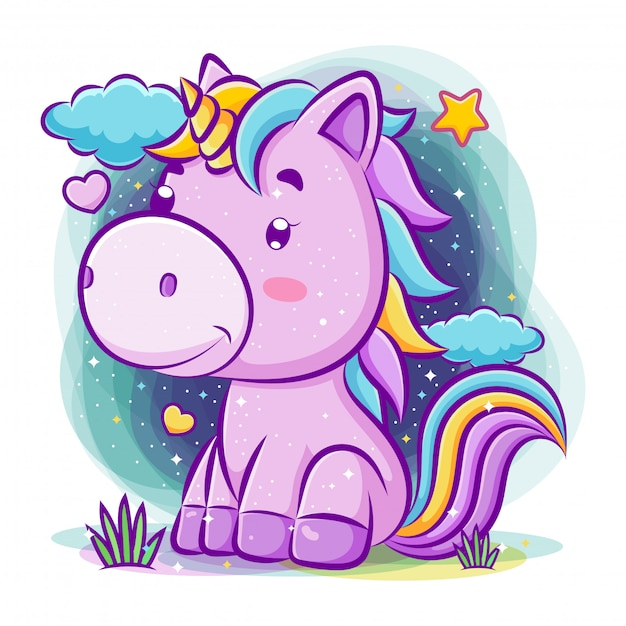 Lovely unicorn sits at the night background Premium Vector