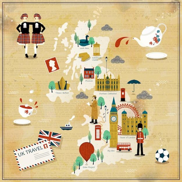 Прекрасный дизайн карты путешествия соединенного королевства с достопримечательностями Premium векторы