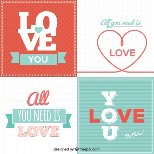 Lovely valentine cards pack Vector – Lovely Valentine Cards