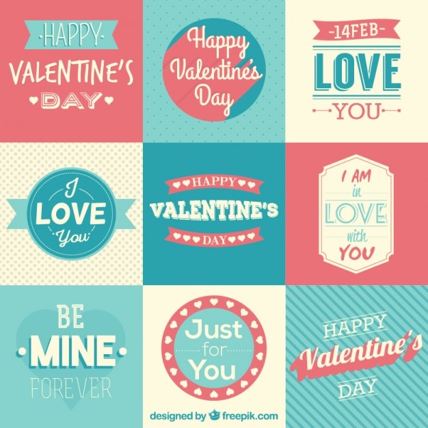 lovely valentine day badges and phrases in a retro style vector, Ideas