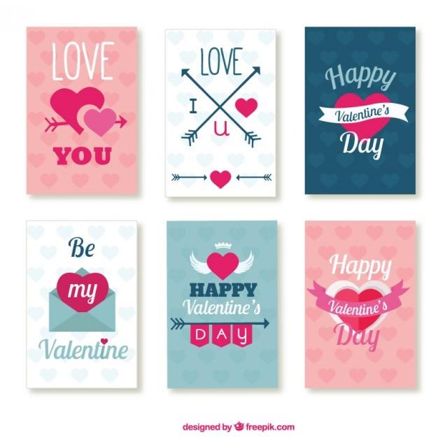 Lovely valentine day cards pack Vector – Lovely Valentine Cards