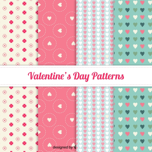 Lovely valentine day pattern collection  Free Vector