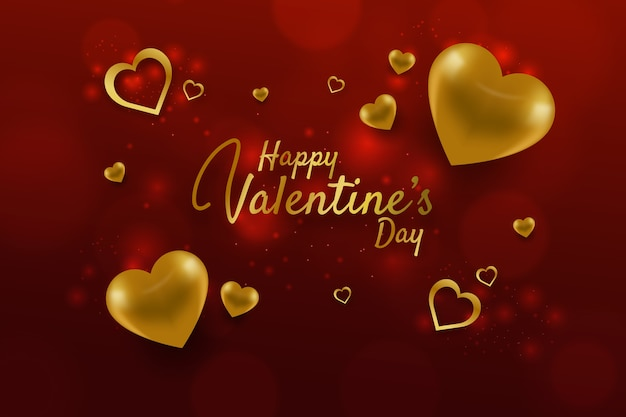 Lovely valentine's day background with golden elements Free Vector