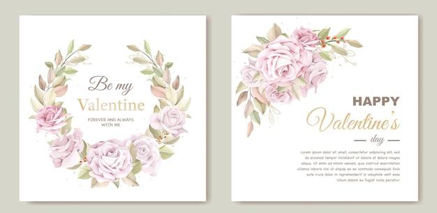 Прекрасный шаблон карты дня святого валентина с цветочным венком Бесплатные векторы