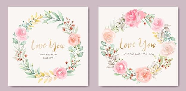 화 환 꽃과 사랑스러운 발렌타인 카드 서식 파일 무료 벡터