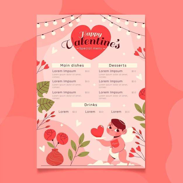 Lovely valentine's day menu Premium Vector