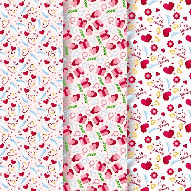 사랑스러운 발렌타인 패턴 컬렉션 무료 벡터