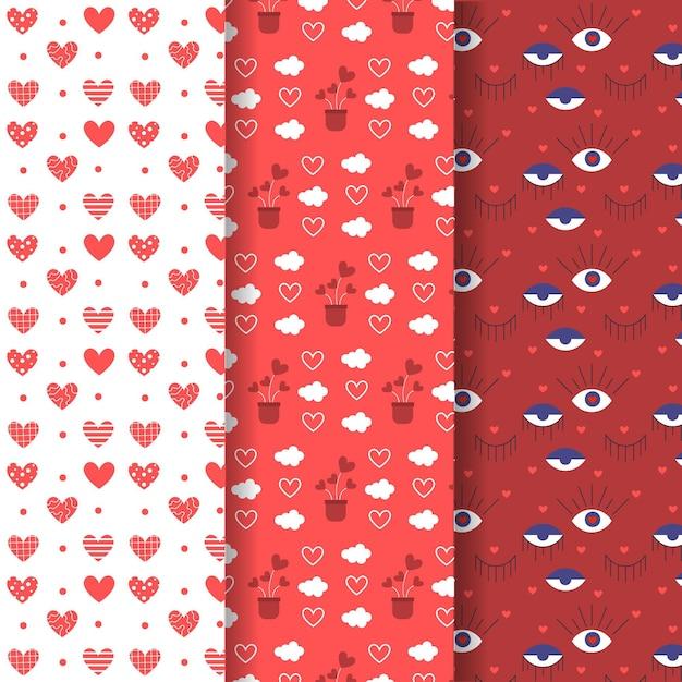 사랑스러운 발렌타인 데이 패턴 팩 무료 벡터