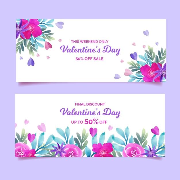 Прекрасные баннеры продажи дня святого валентина Бесплатные векторы