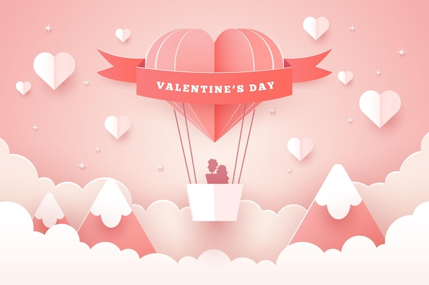 Lovely valentine's day wallpaper in paper style Free Vector