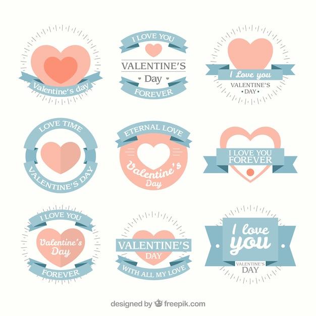 부드러운 색상의 사랑스러운 발렌타인 데이 배지 무료 벡터