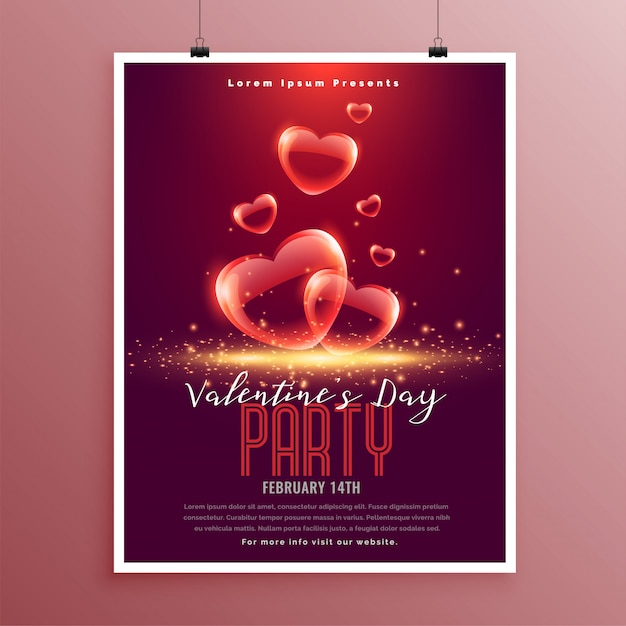 Lovely valentines day bubble hearts flyer template Free Vector