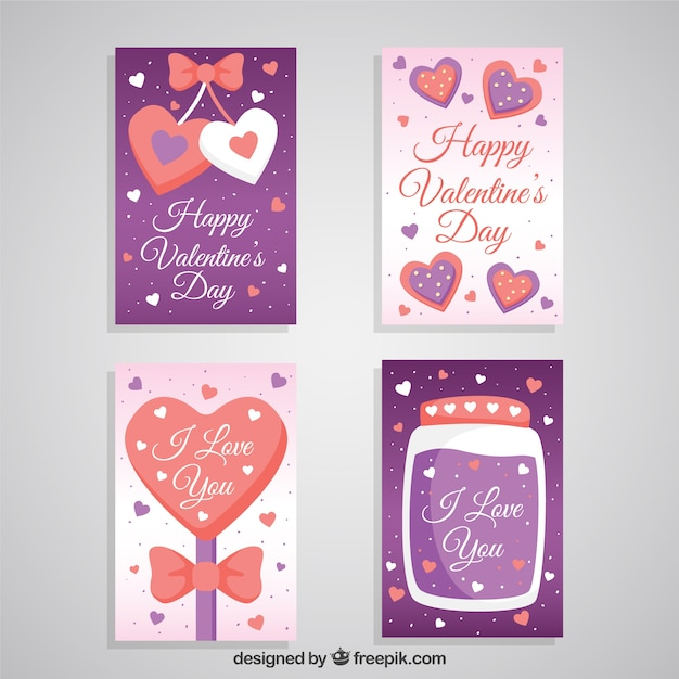 Lovely valentines day greeting cards Vector – Lovely Valentine Cards