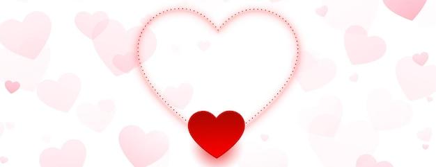 Insegna adorabile dei cuori di giorno di biglietti di s. valentino con lo spazio del testo Vettore gratuito