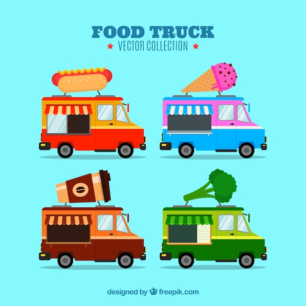 Lovely variety of flat food trucks Free Vector