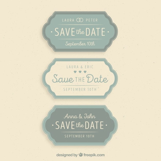 Lovely variety of vintage wedding labels Free Vector
