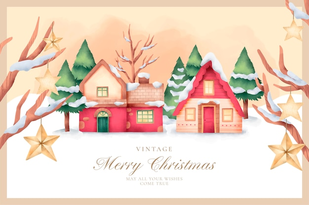 Lovely vintage christmas card in watercolor style Free Vector
