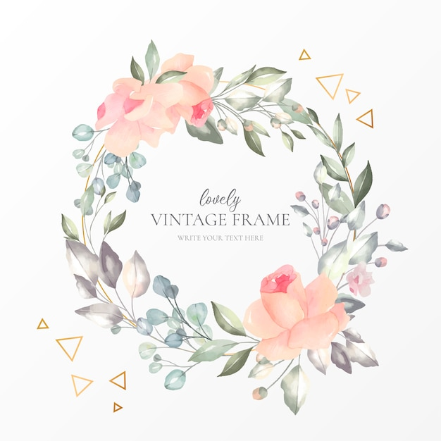 Lovely vintage frame with watercolor nature Free Vector