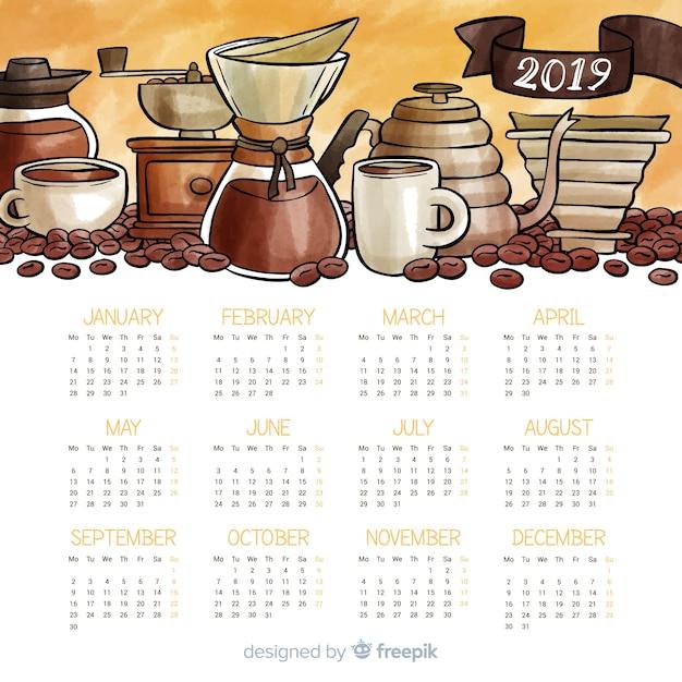 Lovely watercolor 2019 calendar template Free Vector