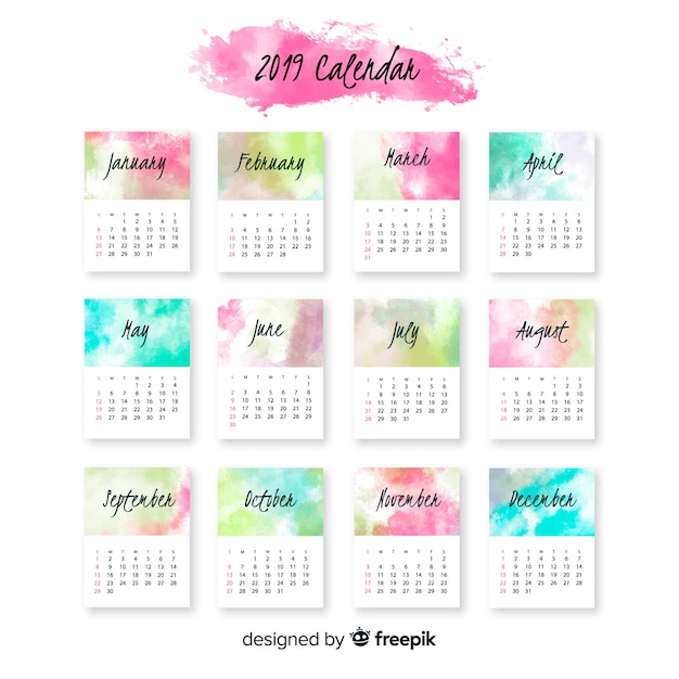 Lovely watercolor 2019 calendar template Free Vector