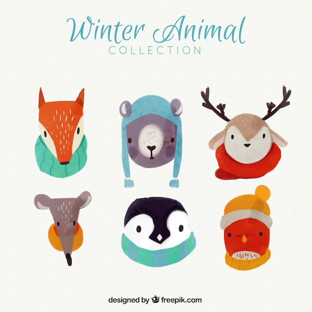 Lovely watercolor animals with winter\ accessories
