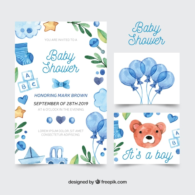 Lovely watercolor baby shower card collection Free Vector