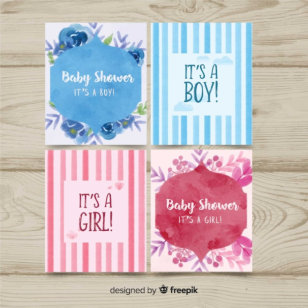 3d3e82c5d Lovely watercolor baby shower card collection Vector