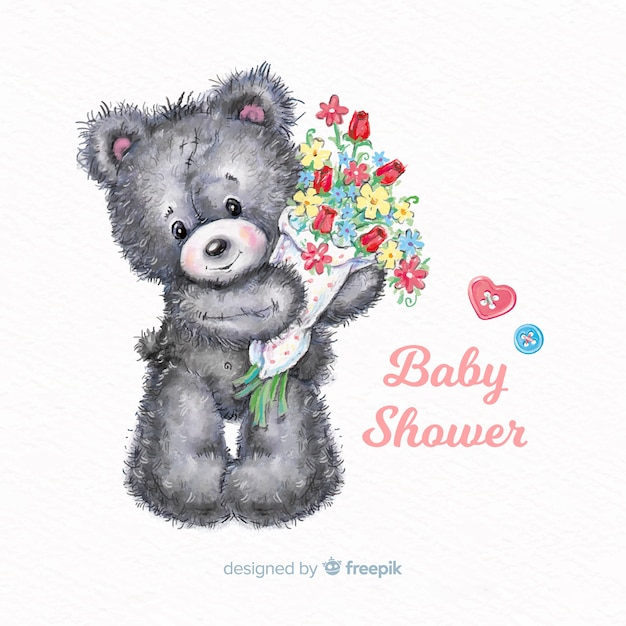 Lovely watercolor baby shower design Free Vector