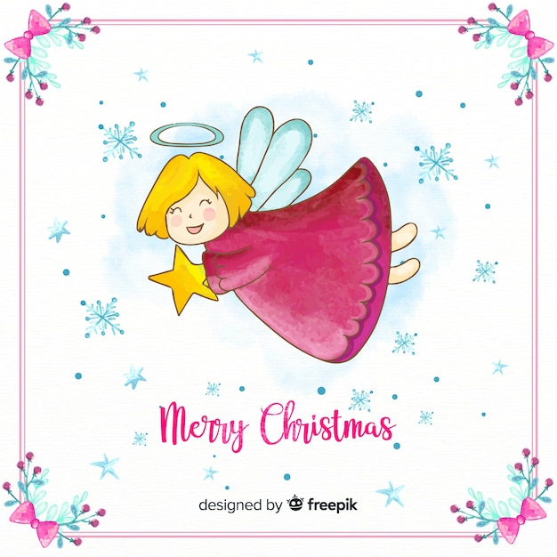 Lovely watercolor christmas angel Free Vector