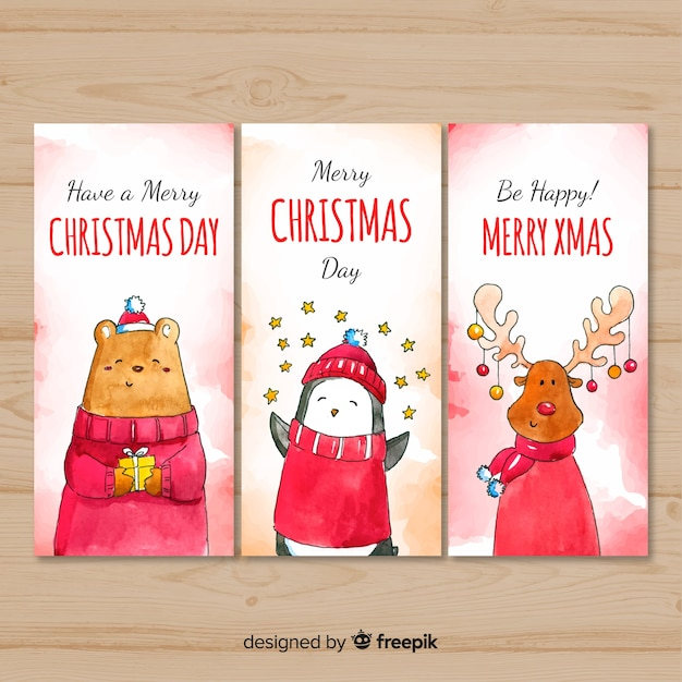 Lovely watercolor christmas card collection Free Vector