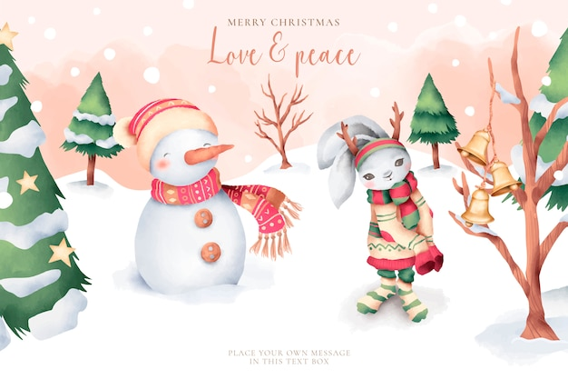 Lovely watercolor christmas card with cute characters Free Vector