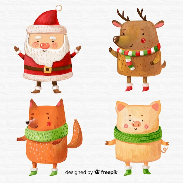 Lovely watercolor christmas character collection Free Vector