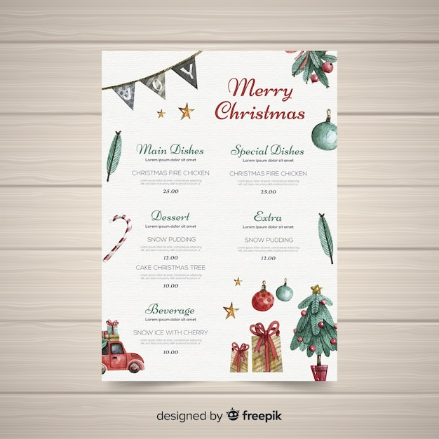 Lovely watercolor christmas menu template Free Vector