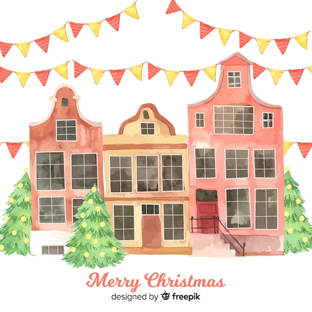 Lovely watercolor christmas town Free Vector