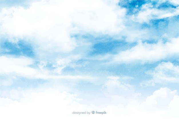 Lovely watercolor clouds background Free Vector