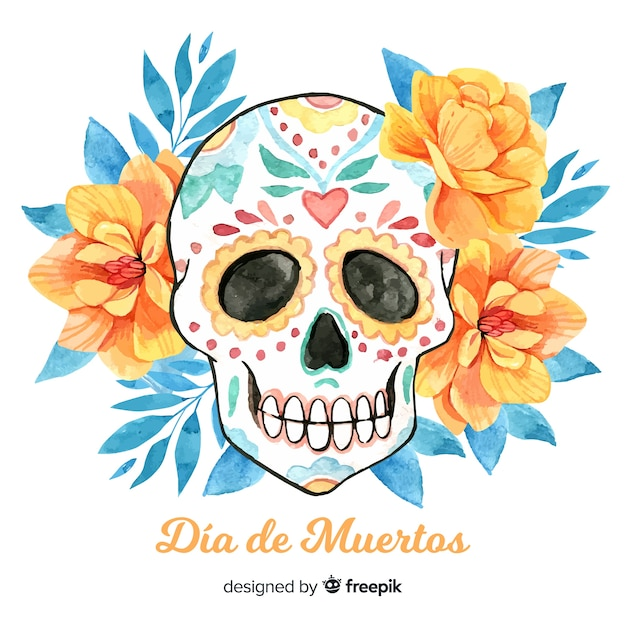 Lovely watercolor día de muertos background Free Vector