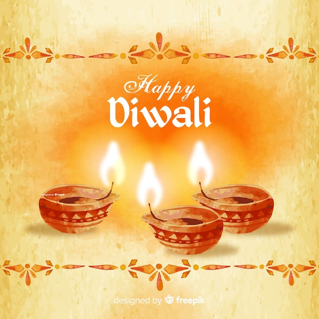 Lovely watercolor diwali background Free Vector