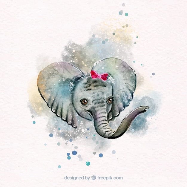 Lovely watercolor elephant Free Vector