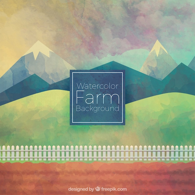 Lovely watercolor farm background Free Vector