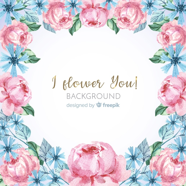 Lovely watercolor floral frame background Free Vector