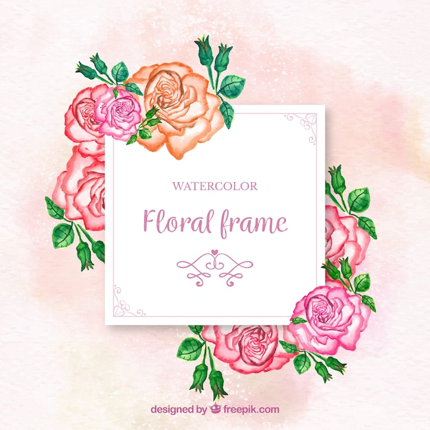 Lovely watercolor floral frame with colorful roses