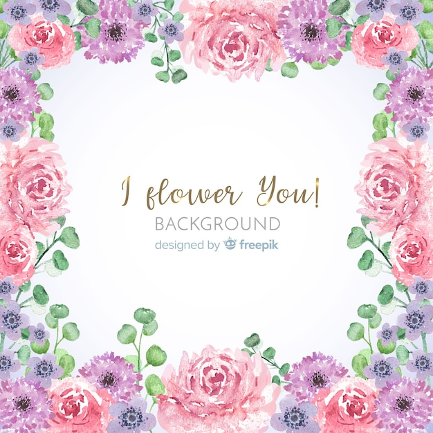 Lovely watercolor floral frame with leaves background Free Vector