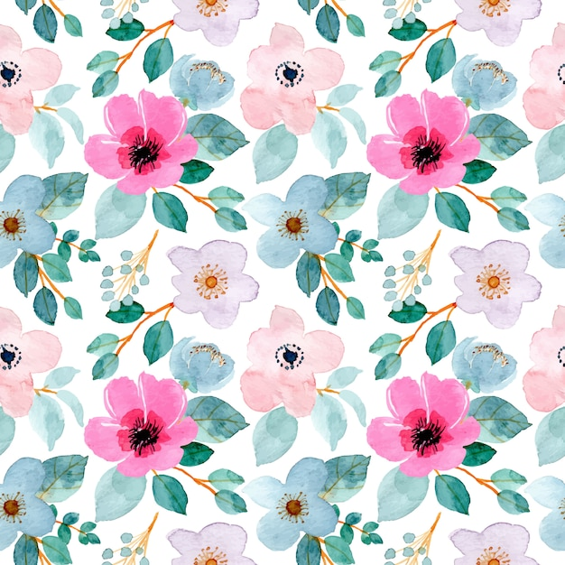 Lovely watercolor floral seamless pattern Premium Vector