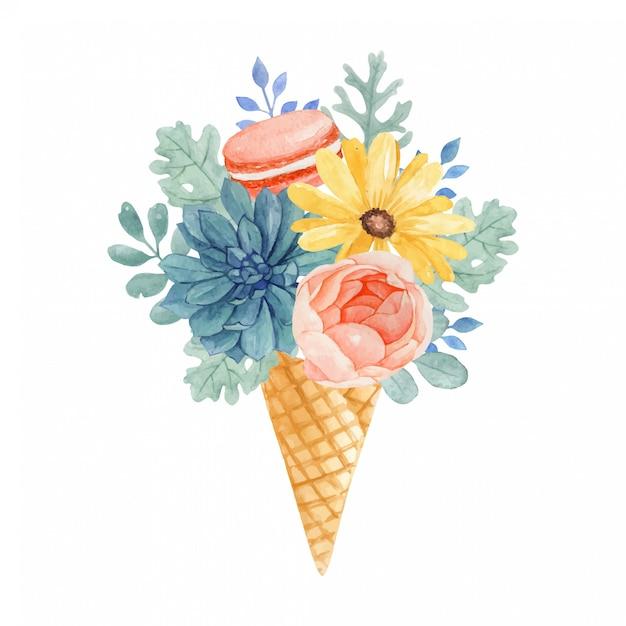 Прекрасное акварельное цветочное мороженое с апельсиновым миндальным печеньем, сочными, розовыми, желтыми ромашками и пыльными листьями миллера Premium векторы