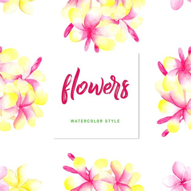 Lovely watercolor flowers Premium Vector