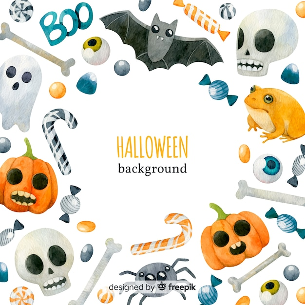 Lovely watercolor halloween background Free Vector